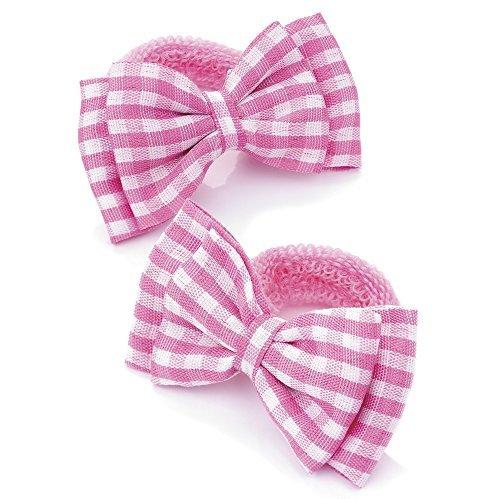 Gingham Hair Bows - 2 Girls Pink Gingham Bow Hair