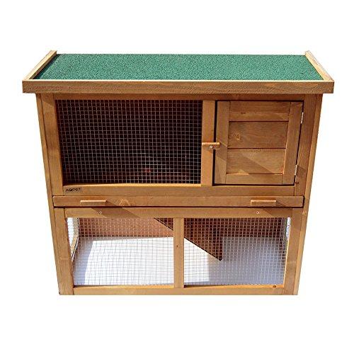 Gabbia per conigli conigliera pollaio roditori con tetto da esterno in legno con rampa 90x41x81 h cm