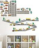 alles-meine.de GmbH 44 Stück: Wandsticker _  Straße mit Fahrzeuge & Auto  - Zum Spielen & als De..