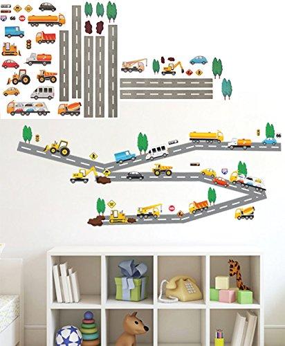 alles-meine.de GmbH 44 Stück: Wandsticker _  Straße mit Fahrzeuge & Auto  - zum Spielen & als Deko - selbstklebend + wiederverwendbar - Aufkleber für Kinderzimmer - Wandtattoo .. (Auto-aufkleber Spiel)