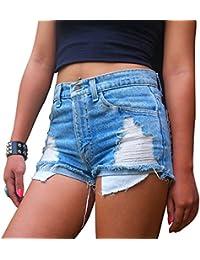 Mujer Pantalones de Mezclilla en verano Pantalones cortos Skinny Rotos Flacos Vaqueros S Azul claro