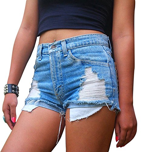 Damen Jeans-Shorts Denim Stretch Jeans Hohe Taille Skinny Distressed Kurze Jeans Hotpants S Hellblau