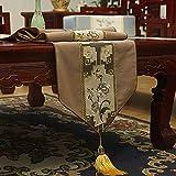 LGZOOT Chinesisch Tischläufer Klassische Baumwollwohnzimmer-Couchtisch-Bett-Markierungsfahnen-Dekoration,Coffee-33 * 240cm