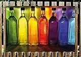 Wallario Garten-Poster Outdoor-Poster - Bunte Flaschen im Regal in Premiumqualität, Größe: 61 x 91,5 cm, für den Außeneinsatz geeignet