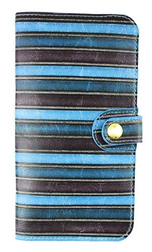 Emartbuy® Rose Rayures Vintage Étui Coque Case Cover en cuir PU ( Size 3XL ) Avec Fermeture Magnétique Bouton Adapté Pour Apple Iphone 6 Bleu Rayures Vintage Case