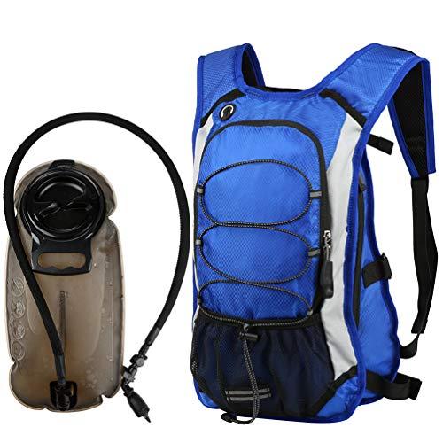 Vbiger Sac de Sport Sac Hydratation avec Poche à Eau 2,5L Unisex Bleu
