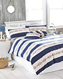 """Riva Paoletti Reef Super King Size Bed Duvet Cover Set - Blue Nautical Stripe Design - 2 x Housewife Pillowcase Included - PolyCotton - Machine Washable - 260 x 220cm (102"""" x 87"""" inches)"""