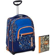 4fee13a0c9 Trolley Bambino Seven + Cartellina A4 - Blu Arancione - Spallacci a  Scomparsa! Zaino 35