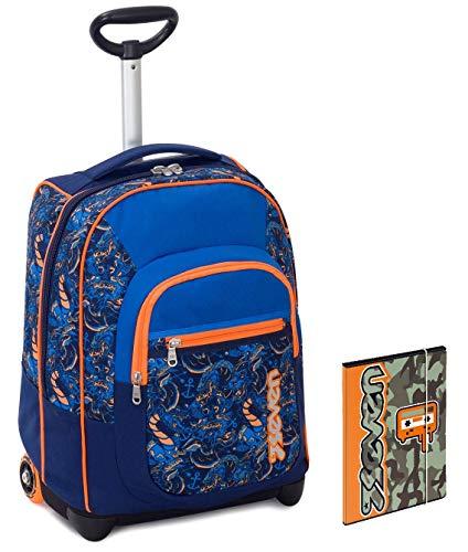 Trolley bambino seven + cartellina a4 - blu arancione - spallacci a scomparsa! zaino 35 lt scuola e viaggio
