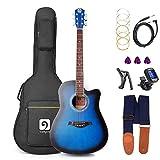 Vangoa 41 Inch Full-Size VG-41ECBL Blue Acoustic Electric Cutaway Guitar Package