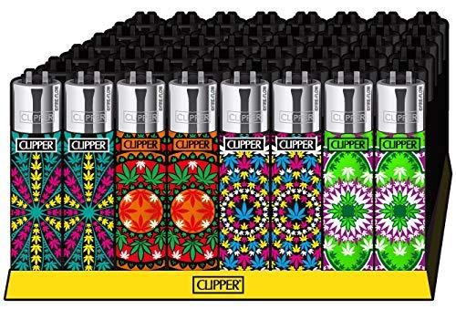 Clipper - Mechero con diseño de Hoja de Marihuana y Mandala #2 (48 Unidades)