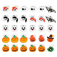 NUOBESTY Halloween Pumpkin Ghost Skull Shape Light Up Rings LED Finger Flashing Toys Party Favors Lights for Kids and Adults 30pcs (Random Style)