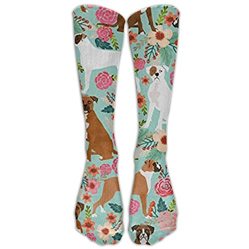 New Boxer Dog Flowers Florals Mint Cute Flowers Trendy Knee High Graduated Compression Socks For Women And Men - Best Medical, Nursing, Travel & Flight Socks - Running & Fitness
