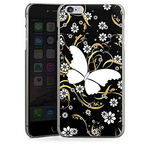 Apple iPhone X Silikon Hülle Case Schutzhülle Schmetterling Blume Muster Hard Case anthrazit-klar