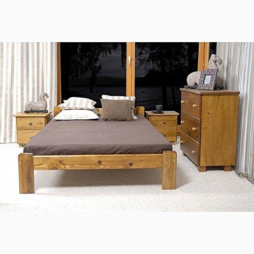 JUSThome Celine Cama de madera maciza + Listones Color Roble Tamaño 120 x 200 cm