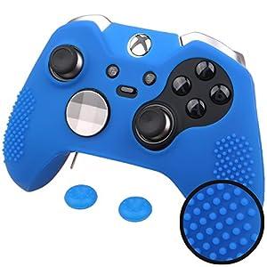 Pandaren® STUDDED Silikon Hülle Anti-Rutsch für beide Xbox One Elite & Standard controller x 1 (blau) + thumb grips aufsätze x 2
