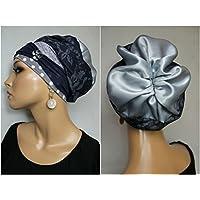 Beanie Mütze Ballonmütze Blau Blumen Silber mit Band Lurex little things in life Chemo Cap Hat Chemomütze Mütze bei Krebs Kopfbedeckung Turban