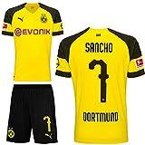Puma BVB Borussia Dortmund Fußball Set Home Heimset 2018 2019 Kinder Jadon Malik Sancho 7 Gr 164