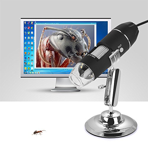 Microscopio endoscopio digital,1000x microscopio usb portatil con PC Video mini cámara 8 LED y metal soporte