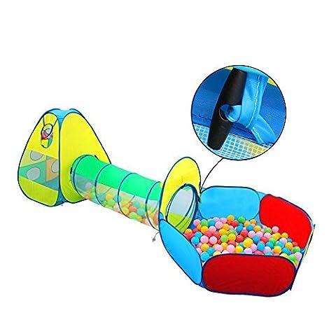 INKERSCOOP Tente Tunnel de Jeu Pop-up et Piscine à Balles pour Enfants -Facile Pliage 3 en 1 Play House Aire de Jeux pour Enfants Maison de Jouet avec Sac de Rangement Zippé - 3 pièces (Jaune,BALLES NON INCLUSES)
