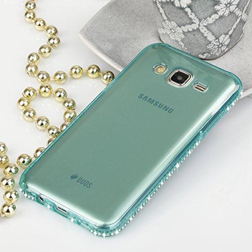EGO® TPU Case Cover Bling Rhinestone Case Silicone Case Diamond Case voor de Samsung Galaxy S7 Gold Transparent Luxe Glitter Matt Case Crystal Case Shiny Case Ultra Thin Case Strass Klar Grün