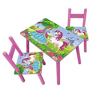 HTI-Line Kindertischgruppe Einhorn Kindermöbel Kinderstuhl Kindersitzgruppe Holzsitzgruppe Kindertisch mit 2 Stühle…
