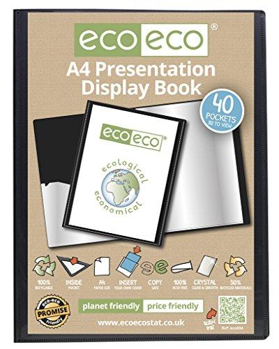 Präsentationsbuch, Sichtbuch, Ordnerbuch in DIN A4-Format mit 40 Steckfächern und schwarzem Einband, aus 50% recyceltem Material, von eco-eco (Seite Portfolio Klare)