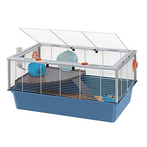 Ferplast Jaula para roedores Criceti 15 57011811W2, de 78 x 48 x 39 cm, color blanco y base de color azul