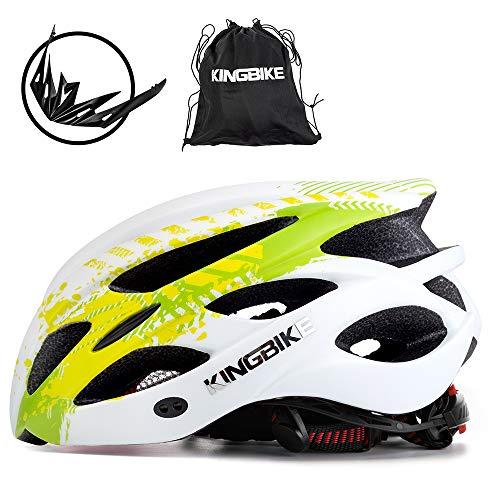 KING BIKE Fahrradhelm Helm Bike Fahrrad Radhelm FüR Herren Damen Helmet Auf Die Helme Sportartikel Fahrradhelme GmbH RennräDer Mountain Schale Mountainbike MTB (Grün Weiß, L(56-60CM))