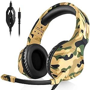 DIWUER Gaming Headset mit Mikrofon Lautstärkeregelung, 3,5mm Kabelgebundene Over Ear Ausinės mit Räuschunterdrückung für PS4 Xbox One PC Laptop Smartphone