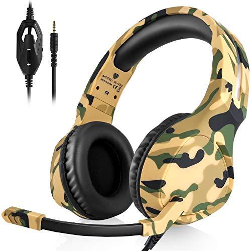 ShinePick Gaming Headset, Headset für PS4, Camouflage 3.5mm LBass Stereo Kopfhörer mit Weich Mikrofonfür PS4 New Version Xbox One Xbox One S Nintendo Switch Computer Laptop(Grau)