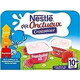 Nestlé Bébé P'tit Onctueux Croissance Fraise Framboise - Laitage dès 10 mois - 6 x 60g - Pack de 8