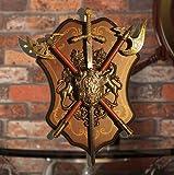 Powzz Ornamentantico Romano Sparta Scudo Spada Decorazioni A Parete Scudo Antico con Armatura Medievale Lion AX Ornamento Artigianato Ktv Bar da Parete
