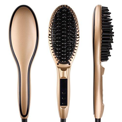 Glättbürste, Minkle Professionaler Haarglätter für lange Haare pflegen, Golden