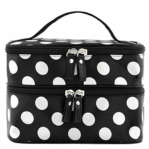 prochive Fashion Frauen Lady Polka Dots Double Layer Dot Muster Kosmetik Handtasche Make-up Fall Travel Toiletry Veranstalter (schwarz) (Dot Handtaschen Stoff Polka)