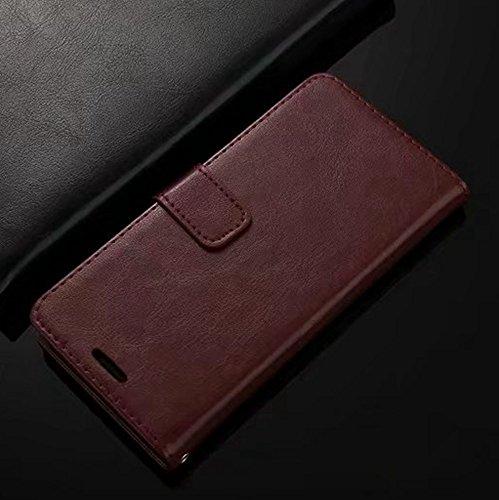 Retro Folio Stand Case Retro Classic PU Leder Geldbörse mit Kartensteckplätzen für Huawei Nova 2 ( Color : Gold ) Brown