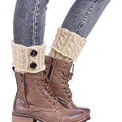 Vovotrade Calcetines de tejer - calentadores de la pierna de la cubierta de arranque (Beige)