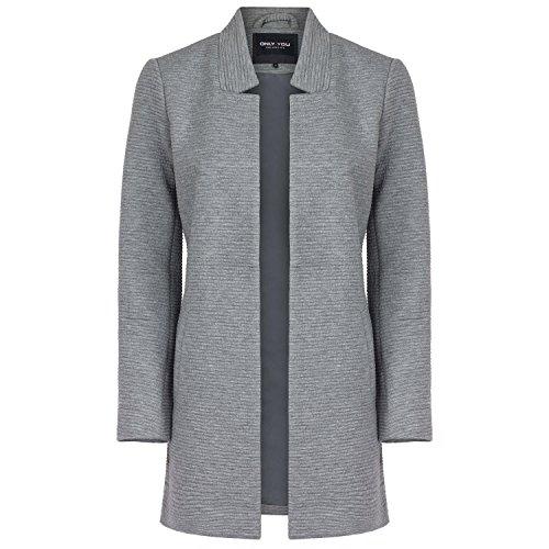 ONLY Damen Sweat-Cardigan Long Blazer, Farbe:Hellgrau;Größe:L