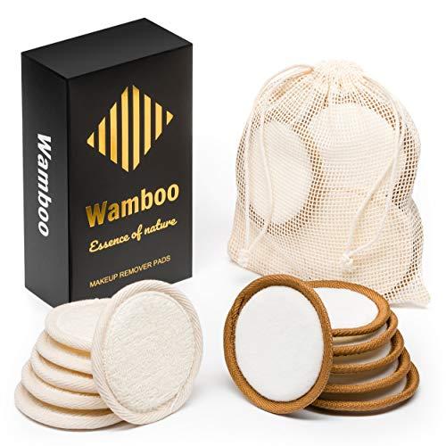 Wamboo Premium Abschminkpads, 12er Pack - Wiederverwendbare Kosmetikpads aus Samt & Bambus, (Ø 9cm), Wattepads, Waschbar - Langlebig & Umweltfreundlich - Inklusive Waschbeutel aus Baumwolle