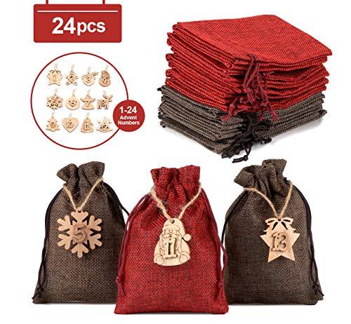 Sweelov Jutesäckchen für Adventskalender Weihnachten Adventszahlen Zahlen Holz Deko Holz-Anhänger Adventskalender Jutebeutel Stoffbeute Geschenksäckchen zum Befüllen