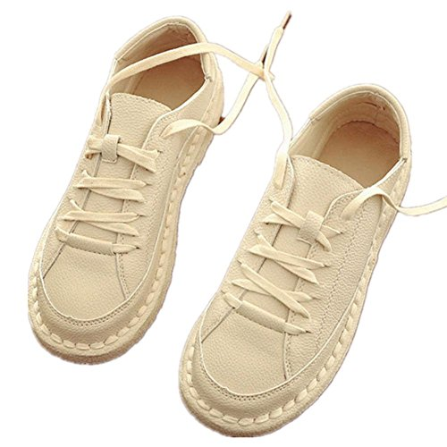 Femmes Rétro Chaussures basses respirant Lace Leisureflat Chaussures petites Chaussures Blanc meters white