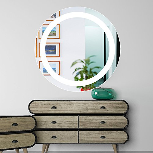 CO-Z Espejo de Baño con Luz LED Espejo de Pared Iluminado con Interruptor Táctil Antiniebla Espejo para Cuarto de Baño con Iluminación 61cm de Diámetro (Redondo)