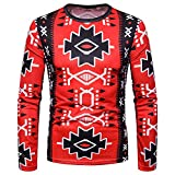 KPILP Herren Rundhals Mode Herbst Winter Casual African Indian Print Dashiki Langarm Top Bluse Shirt Pullover(S-rot, S)