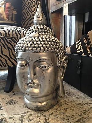 Großer Buddha Deko Kopf Figur Feng Shui silber wetterfest frostfrei Gartenfigur