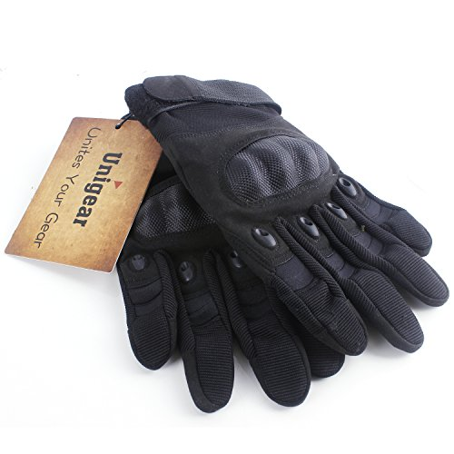 Unigear Taktische Handschuhe mit Klettverschluss Motorrad Handschuhe Army Gloves Sporthandschuhe geeignet für Motorräder Skifahren, Militär, Airsoft (Schwarz-Voll, XL) - 6