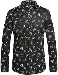 SSLR Camisas Hombre Manga Larga Estampada Animal Slim Fit Casual Algodón 996f9e124f78f