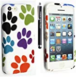 STYLEYOURMOBILE {TM} NEW APPLE IPHONE 5C PRINTED SILICONE GEL PROTECTION CASE SKIN COVER+SCREEN PROTECTOR+STYLUS (Multi Dog Cat Paw Foot)
