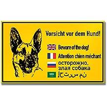 BEWARE OF THE DOG Hund Warnung vor dem Hunde EMAILSCHILD Warnschild 20 x 20 cm