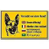 Schild Vorsicht Hund Hinweisschild inkl. 4 Lochbohrungen | 25x15cm | stabile Aluminium Verbundplatte (Vorsicht Hund (25x15cm))