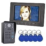 XC 7-Zoll-RFID-Passwort-Video-Türklingel-Türklingel, 1000TVL-Infrarotkamera-Zugriffskontrollsystem, für an der Wand montierte Türklingeln, mit wetterfester Abdeckung